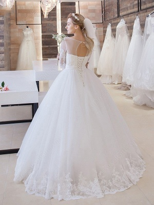 White Wedding Dresses With Sleeves Lace A line Bridal Bridal Gowns_2