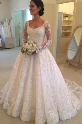 weiß Brautkleider Langarm Mit Spitze U Ausschnitt A Linie Brautmoden Hochzeitskleider