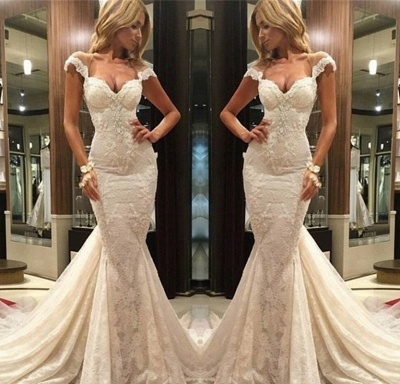 Modern Ivory Wedding Dresses Lace Mermaid Wedding Gowns Online_2