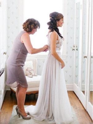 Schlichte Strand Brautkleider Mit Spitze Etuikleider Bodenlang Hochzeitskleider Online_2