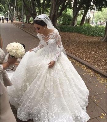 Modern Weiße Brautkleider Mit Ärmel Prinzessin Spitze Hochzeitskleider Günstig_1