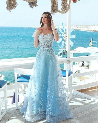 Fashion Blue Evening Dress Long Lace Evening Wear Prom Dresses Online_2