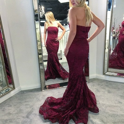 Fashion Pink Lace Long Evening Dresses Pink Evening Wear Prom Dresses Online_2