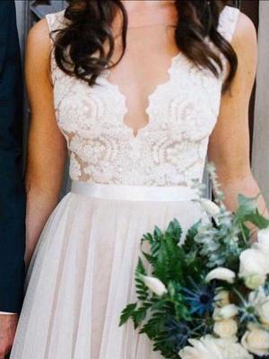 Schlichte Strand Brautkleider Mit Spitze Etuikleider Bodenlang Hochzeitskleider Online_3
