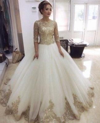 Weiß Goldene Brautkleider Mit Ärmel Prinzessin Tüll Hochzeitskleider Online Kaufen_3