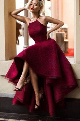 Elegant Wine Red Evening Dresses Front Short Behind Long Evening Wear Party Dresses_1