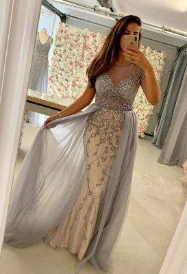 Designer evening dresses silver | Evening wear with lace online_1