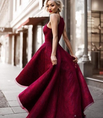 Elegant Wine Red Evening Dresses Front Short Behind Long Evening Wear Party Dresses_2