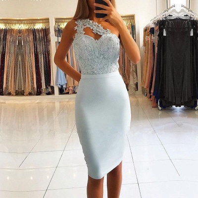 Modern light blue cocktail dresses short prom dresses mini with lace_2