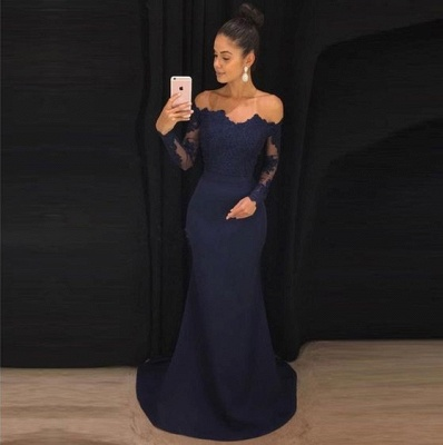 Elegant Navy Blue Evening Dresses With Sleeves Lace Long Prom Dresses Online_3
