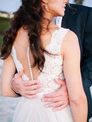 Schlichte Strand Brautkleider Mit Spitze Etuikleider Bodenlang Hochzeitskleider Online_4
