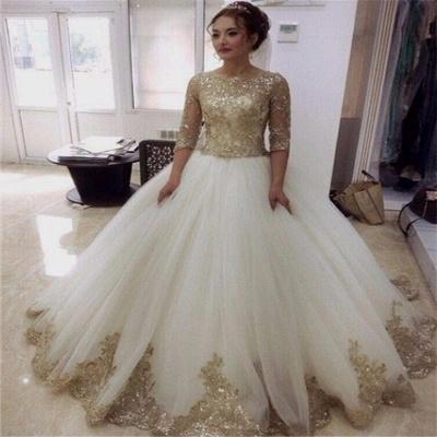 Weiß Goldene Brautkleider Mit Ärmel Prinzessin Tüll Hochzeitskleider Online Kaufen_2