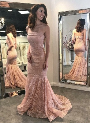 Fashion Pink Lace Long Evening Dresses Pink Evening Wear Prom Dresses Online_3