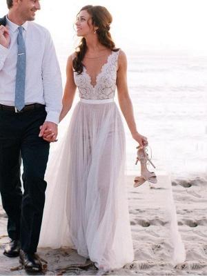 Schlichte Strand Brautkleider Mit Spitze Etuikleider Bodenlang Hochzeitskleider Online_1