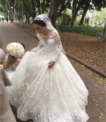 Modern Weiße Brautkleider Mit Ärmel Prinzessin Spitze Hochzeitskleider Günstig_2