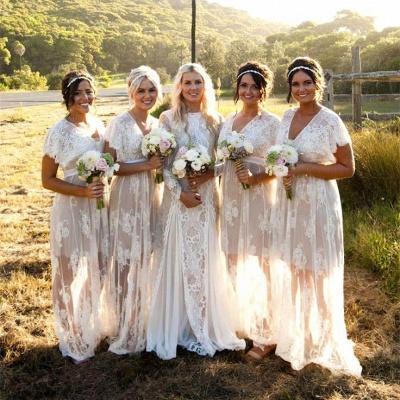 Weiß Brautjungfernkleider Lang Günstig Spitze Mit Ärmel Etuikleider Für Brautjungfern_2
