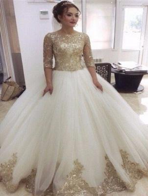 Weiß Goldene Brautkleider Mit Ärmel Prinzessin Tüll Hochzeitskleider Online Kaufen_1