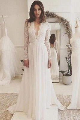 Sommer Weiß Brautkleider Lang Ärmel Spitze Chiffon Hochzeitskleider Brautmoden Günstig_1