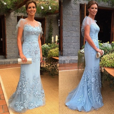 Blue Mother of the Bride Dresses Long With Lace Mermaid Dresses For Mother Of The Bride Evening Dress_2