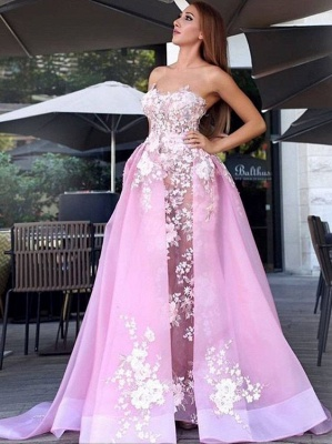 Pink Festive Evening Dresses Long Lace A Line Prom Dresses Evening Wear_1