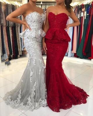 Rote Abendkleider Lang Spitze | Abiballkleider Abendmoden Online_2