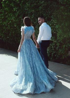 Luxus Abendkleider Lang Blau Abendmoden Spitze Abiballkleider Online_3
