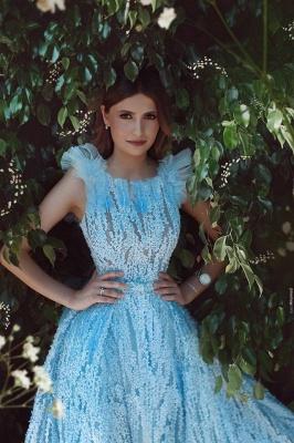 Luxus Abendkleider Lang Blau Abendmoden Spitze Abiballkleider Online_2