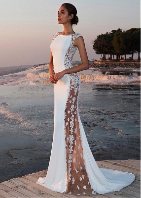 White prom dresses long cheap lace evening dresses evening wear online_1