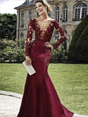 Burgundy Evening Dresses Long With Sleeves | Evening wear with lace_1