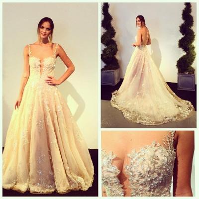 Elegante Brautkleider Weiß A Linie Spitze Brautmoden Perlen Hochzeitskleider_2