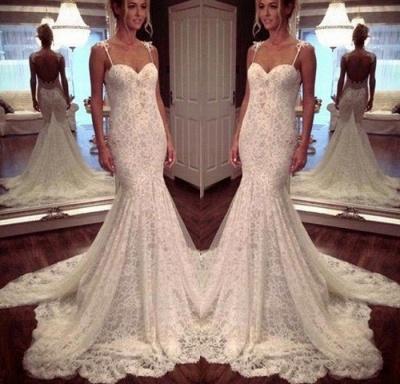 Elegant White Wedding Dresses Lace Spaghetti Straps Mermaid Bridal Gowns Cheap_2