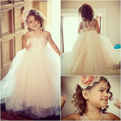Princess flower girl dresses tulle floor length dresses for flower children wedding_2