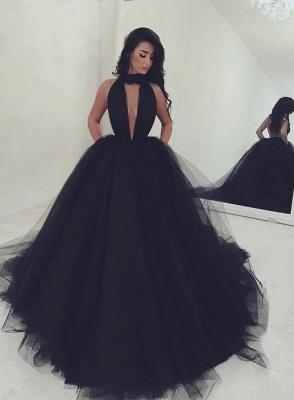 Schlicht Schwarz Abendkleider Lang Prinzessin Tüll Abiballkleider Partykleider_1