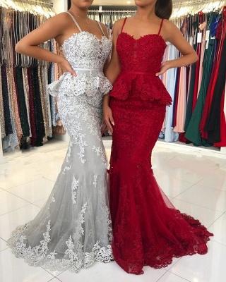 Rote Abendkleider Lang Spitze | Abiballkleider Abendmoden Online_1