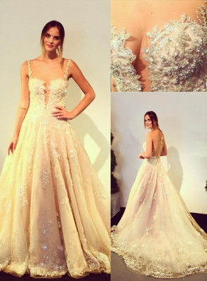 Elegante Brautkleider Weiß A Linie Spitze Brautmoden Perlen Hochzeitskleider_1