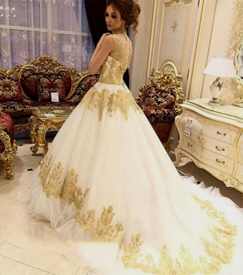 Golden white wedding dresses with lace a line wedding gowns cheap online_3