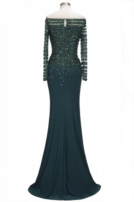 Dark Green Evening Dresses With Sleeves Crystal Prom Dresses Long Cheap_4