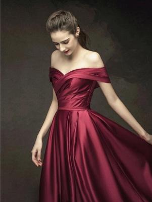 Elegante Abendkleider Lang Weinrot | Schlichtes Abendkleid Online_4