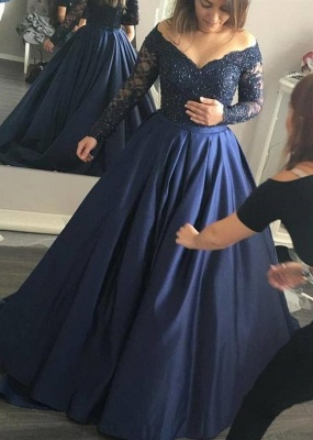 Navy Blue Evening Dresses Long Sleeves Large Size Evening Wear Party Dresses_2