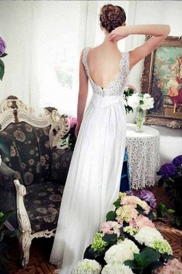 Simple Chiffon Summer Dresses Bridal Gowns With Lace Floor Length Wedding Dresses_2
