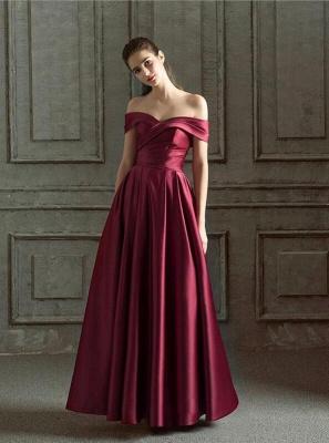 Elegante Abendkleider Lang Weinrot | Schlichtes Abendkleid Online_1