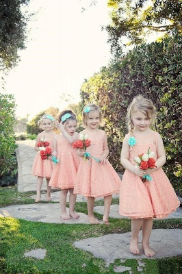 Sweet flower girl dresses cheap a line lace short dresses for kid_1