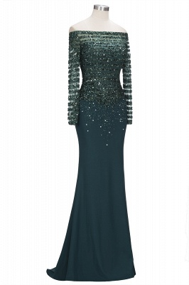 Dark Green Evening Dresses With Sleeves Crystal Prom Dresses Long Cheap_3