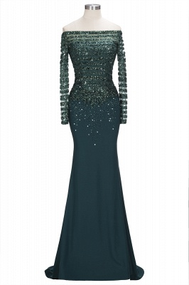Dark Green Evening Dresses With Sleeves Crystal Prom Dresses Long Cheap_1