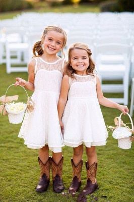 Sweet flower girl dresses cheap a line lace short dresses for kid_2