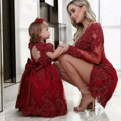 Elegante Rote Abendkleider Kurz Mini Mutter Abendmoden Spitze_2