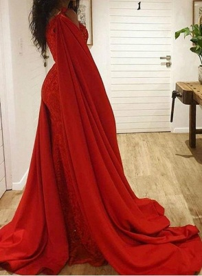 Fashion evening dresses long red | Long glitter lace prom dresses_5
