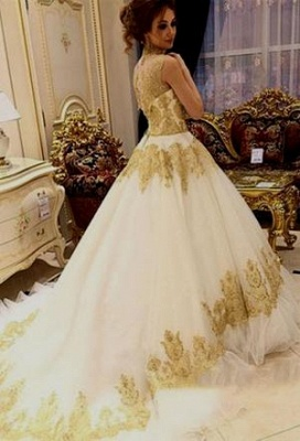 Golden white wedding dresses with lace a line wedding gowns cheap online_2