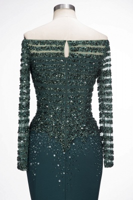 Dark Green Evening Dresses With Sleeves Crystal Prom Dresses Long Cheap_5