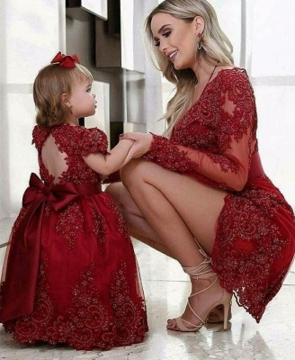 Cheap Flower Girl Dresses Wine Red Lace Child Dresses For Wedding_2